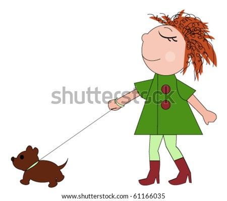 Funny girl walking with a dog
