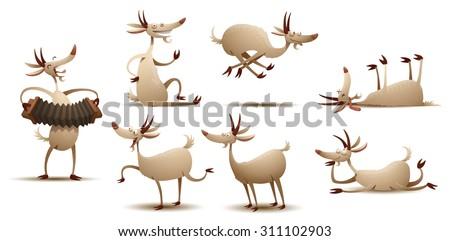 funny goats set  vector
