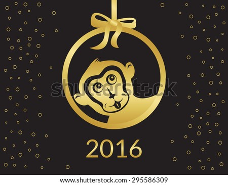 Funny gold monkey symbol for 2016 chinese year Isolated on black