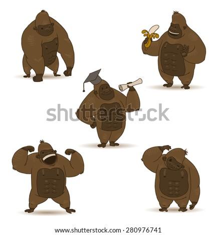 funny gorillas set  vector