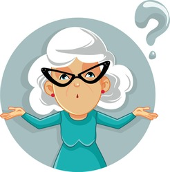 Funny Granny Shrugging Vector Cartoon Illustration. Senor lady raising shoulders feeling concerned