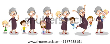Funny granny with grandchildren having time together. Cute elderly woman nurse her grandson and granddaughter. Aged lady holding kids personage. Funny old people animation set. vector illustration