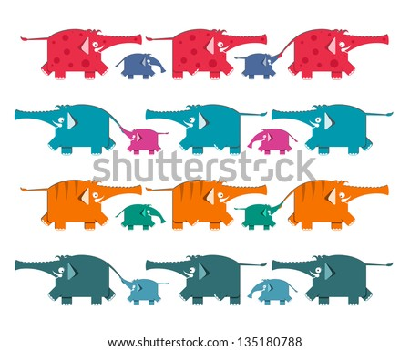 Funny Graphic Elephants Herd Collection. A set of colorful elephants. Vector illustration EPS8.