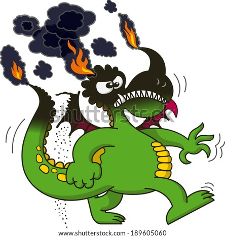 Stock Photo Funny green dragon clenching its right fist and teeth and walking in a very angry mood while its tail, wings and head, completely black because of fire, keep burning