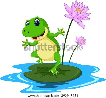 funny green frog cartoon