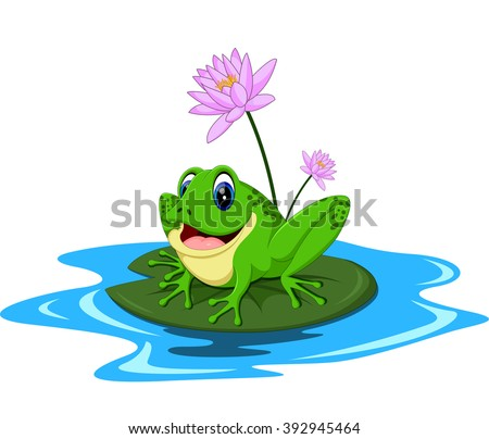 funny green frog cartoon