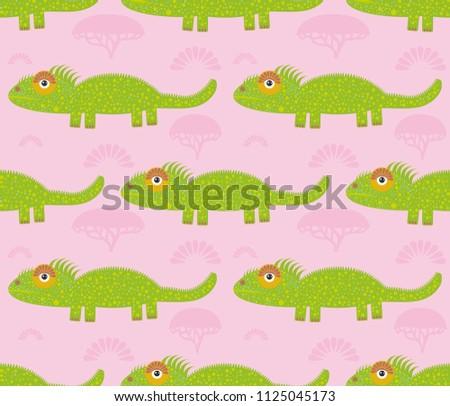 funny green iguana seamless