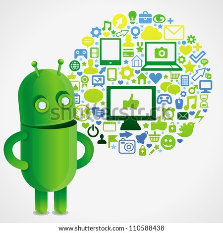 Funny green robot with social media concept  - vector illustration