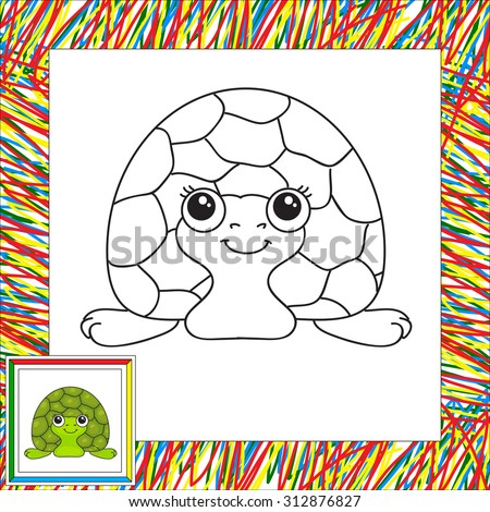 funny green turtle vector