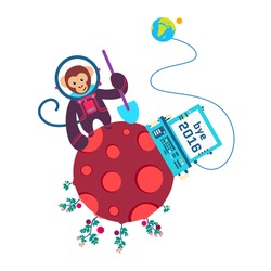 Funny greeting card Bye Old Year 2016 Vector illustration with monkey on red planet