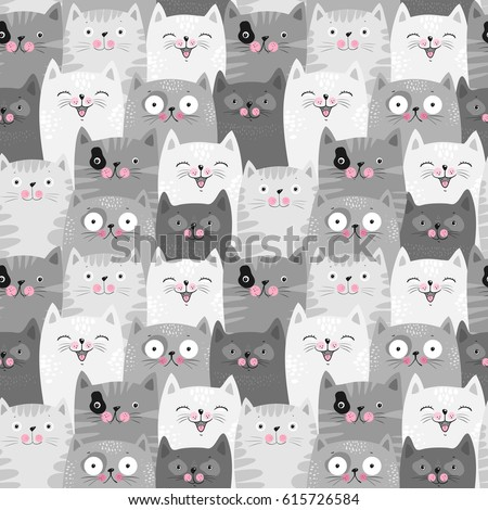 funny grey cats  cute seamless