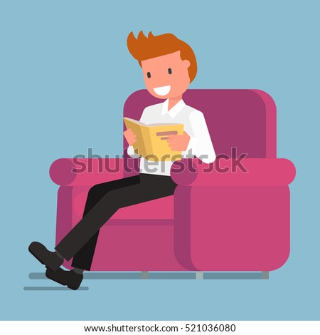 funny guy, man, character, reading a book. Vector illustration. flat design style