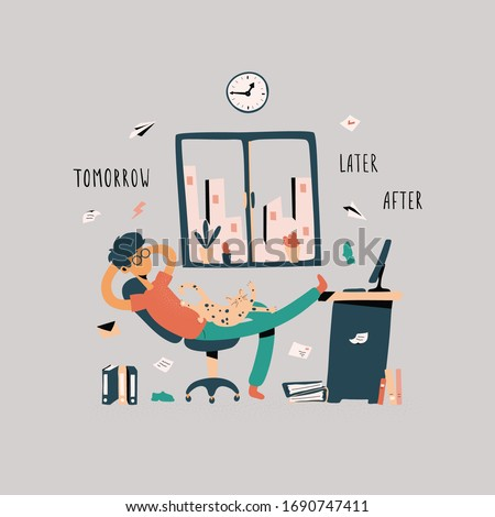 Funny guy sitting with his legs on desk, dreaming and procrastinating instead of working. Resting office worker, student. Vector Illustration in flat cartoon style Сток-фото ©