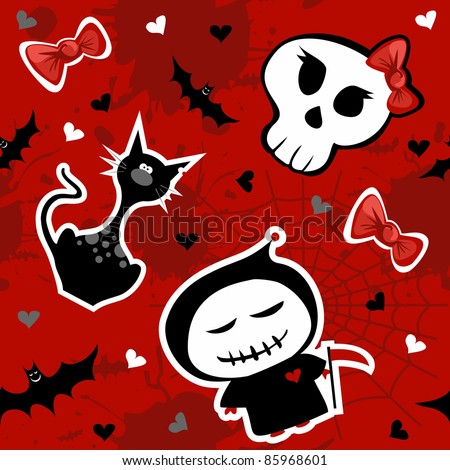 Funny halloween characters seamless pattern background. Vector available