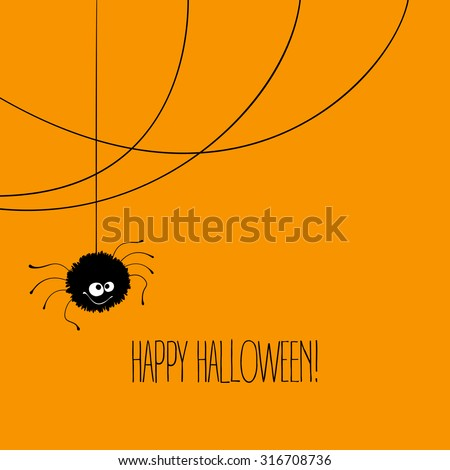Funny Halloween greeting card with monster with eyes. Vector illustration EPS 10