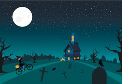 Funny Halloween nigh, witch rides a bicycle to a party.