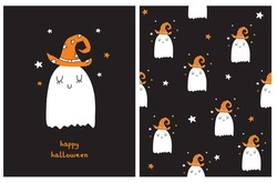 Funny Halloween Party Vector Card and Seamless Vector Pattern. Cute Little Ghost in Orange Witch Hat. White Dreamy Ghost Isolated on a Black Background. Infantile Style Nursery Art.