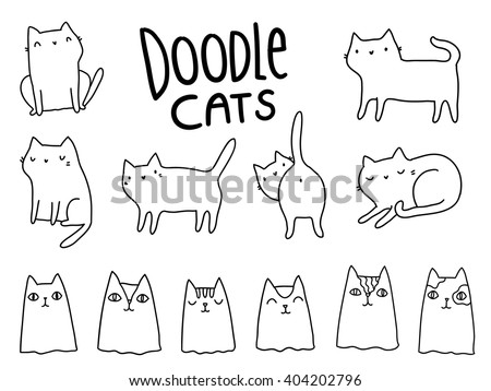 Funny hand drawn cats. Animals vector illustration with adorable kittens.