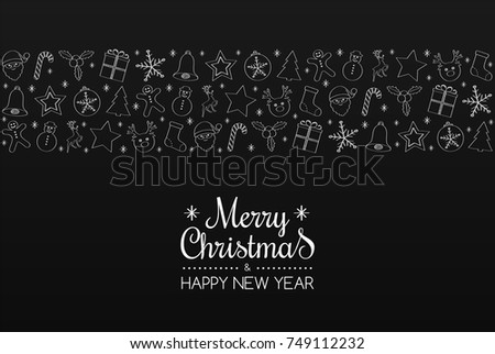 "Funny hand drawn decoration with wishes ""Merry Christmas"". Vector. #749112232"