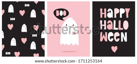 Funny Hand Drawn Illustration with Cute White Ghost Isolated on a Pink Background. Lovely Nursery Art for Pink Halloween Party. Simple Handwritten Happy Halloween Card. Pattern with Ghosts and Hearts.