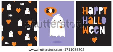 Funny Hand Drawn Illustration with Cute White Ghost Isolated on a Violet Background. Lovely Nursery Art for Halloween Party. Simple Handwritten Happy Halloween Card. Pattern with Ghosts and Hearts.