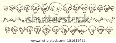 funny hand drawn skulls showing