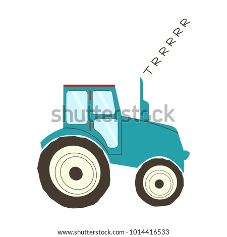 funny hand drawn tractor
