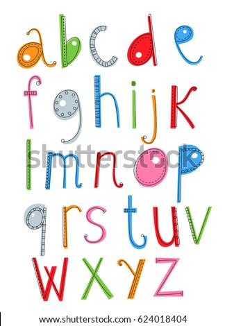 Funny hand drawn vector alphabet for children. Vector font, letters.