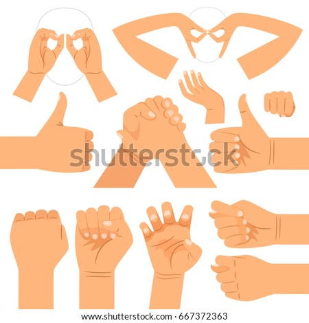 Funny hand glasses shape, handshake and thumbs up, fist and cats claws hands gestures isolated on white background