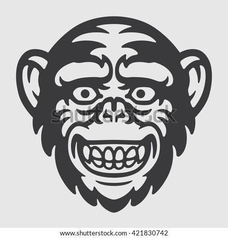 Funny Happy Ape Chimpanzee Head Logo Mascot Emblem
