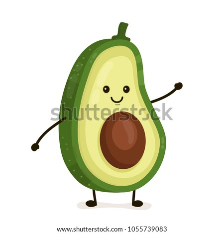 Funny happy cute happy smiling avocado. Vector flat cartoon character illustration icon. Isolated on white background. Fruit avocado concept