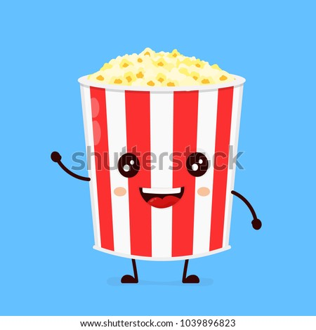 Funny happy cute smiling  bucket of popcorn. Vector flat cartoon character illustration icon. Isolated on blue background.Popcorn concept