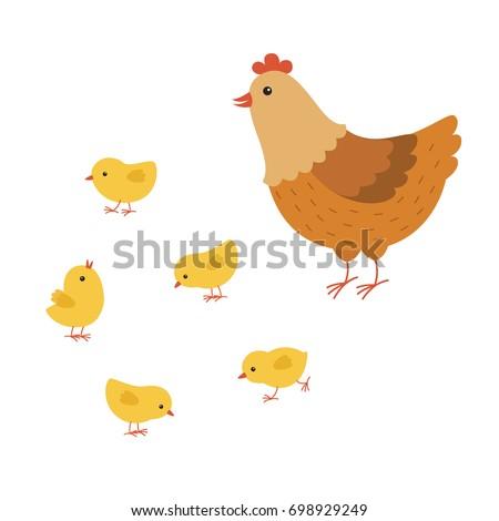 funny hen cartoon with her baby chicken, mother hen