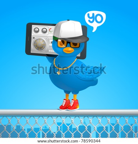 funny hip-hop style blue bird tweets in the ghetto with a phone gadget