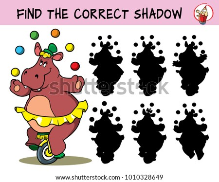 Funny hippo girl in a skirt on a unicycle juggling with balls. Find the correct shadow. Educational matching game for children. Cartoon vector  illustration