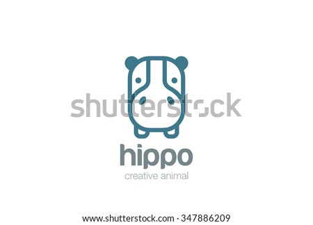 Funny Hippo Head Logo design vector template. Wild Safari Linear icon. Hippopotamus animal Logotype concept lineart style. Outlined illustration.