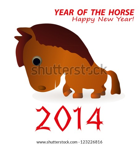 Funny horse as a symbol of 2014 New Year