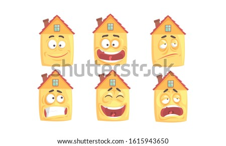 Funny Humanized Houses Collection, Cute Building Cartoon Character with Various Face Expressions Vector Illustration