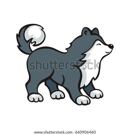 funny husky dog vector