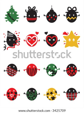 funny icon. stock vector : funny icon set
