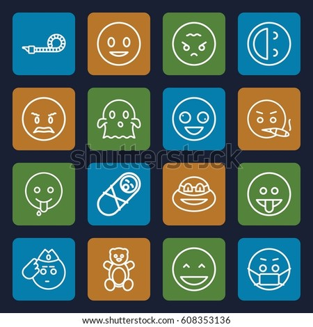 funny icons set set of 16