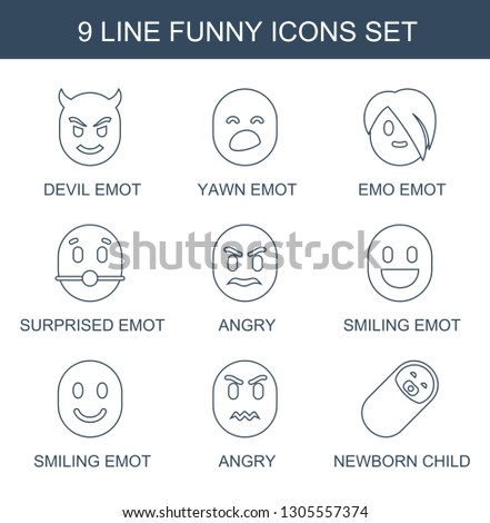 funny icons. Trendy 9 funny icons. Contain icons such as devil emot, yawn emot, emo emot, surprised angry, smiling newborn child. funny icon for web and mobile.