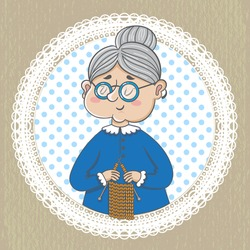 funny illustration. Cute grandmother  with  knitting on napkin