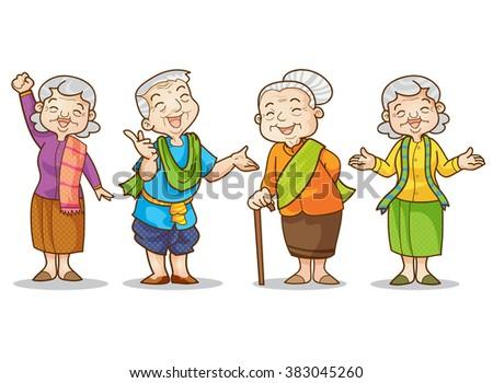 funny illustration of old man