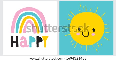 Funny Infantile Style Nursery Art with Happy Rainbow and Sun. Lovely Vector Illustration for Kids. Simple Cute Wall Art with Abstract Hand Drawn Sun on a Blue Sky and  Rainbow on a White Background.