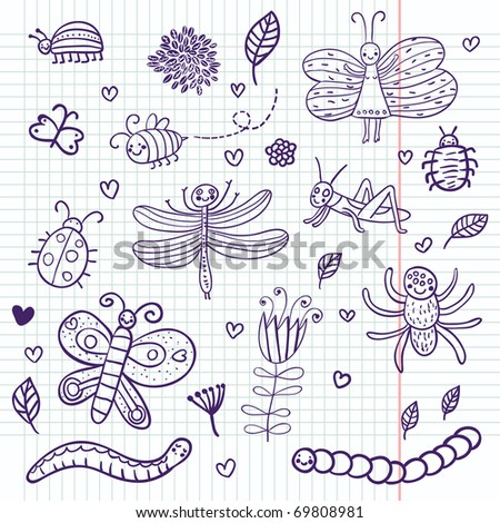 Funny insects - cute doodle set scrapbook page