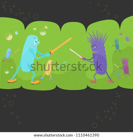Funny Interpretation of the Relationships Between Good and Bad Bacteriums. Microbial Environment of Human Intestines with Funny Probiotics and Pathogenic Bacteriums Fighting on a Swords