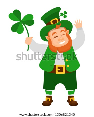 Funny Irish fantastic character, gnome leprechaun. Feast day of Saint Patrick. Leprechaun in traditional dress, headgear, with lucky clover leaf in hands, in day of Saint Patrick. Vector cartoon.