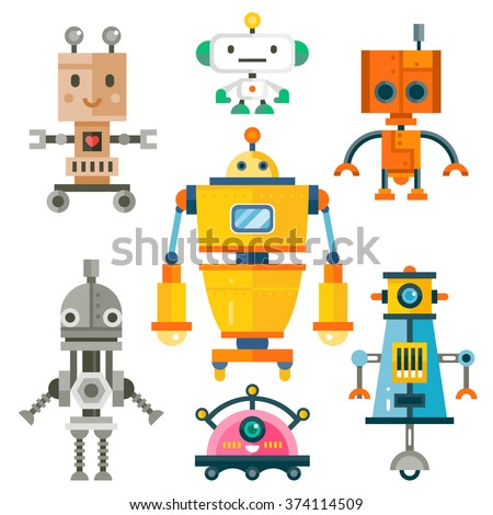 funny isolated robot set 7