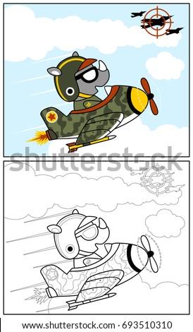 funny jet pilot  vector cartoon